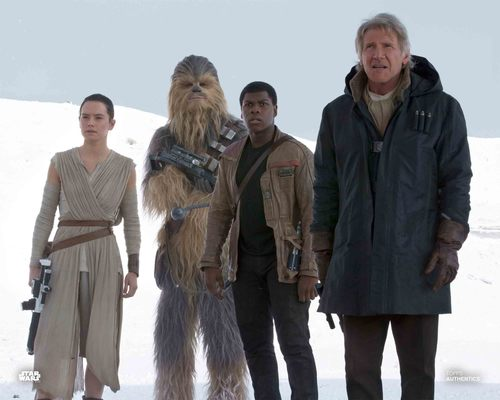 Han Solo, Rey, Finn and Chewbacca