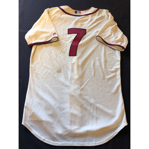 Photo of Eugenio Suarez -- Game-Used 1935 Throwback Jersey (Starting 3B: 1-for-2, R, 2 BB) -- Rangers vs. Reds on June 15, 2019 -- Jersey Size 46