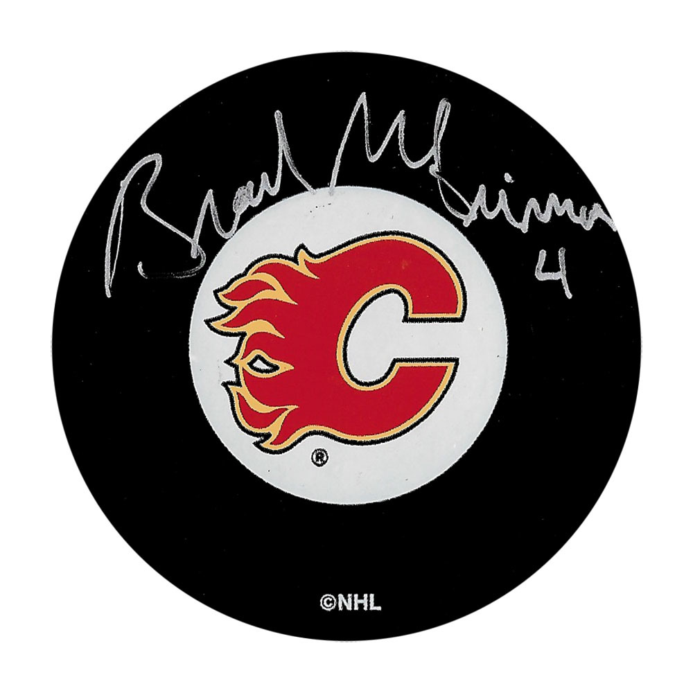 Brad McCrimmon Autographed Calgary Flames Puck
