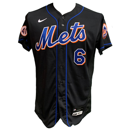Photo of Jeff McNeil #6  - Game Used Black Jersey - 2-4, Double, RBI - Mets vs. Reds - 7/30/21