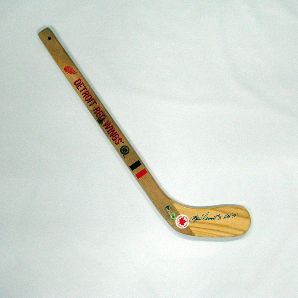 MARCEL PRONOVOST Signed Mini Stick with HOF Inscription - Detroit Red Wings