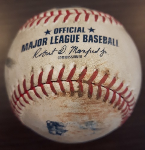Photo of Authenticated Game Used Baseball - Double by Jose Bautista against Paul Blackburn. Bottom 1. (July 26, 2017).
