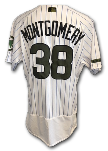 Photo of Mike Montgomery Team-Issued Memorial Day Jersey -- Giants vs. Cubs -- 5/27/18