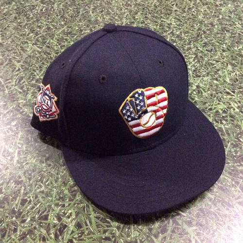Photo of Craig Counsell Game-Used 2018 Stars & Stripes Cap