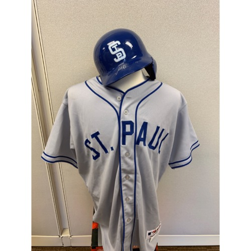 Photo of Minnesota Twins - Josh Willingham 1948 St. Paul Saints Jersey and Helmet