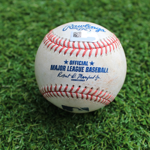 Photo of Game-Used Baseball: Whit Merrifield 464th Career Hit - Ties George Brett's Club Record 30 Game Hit Streak (SEA @ KC - 4/9/19)