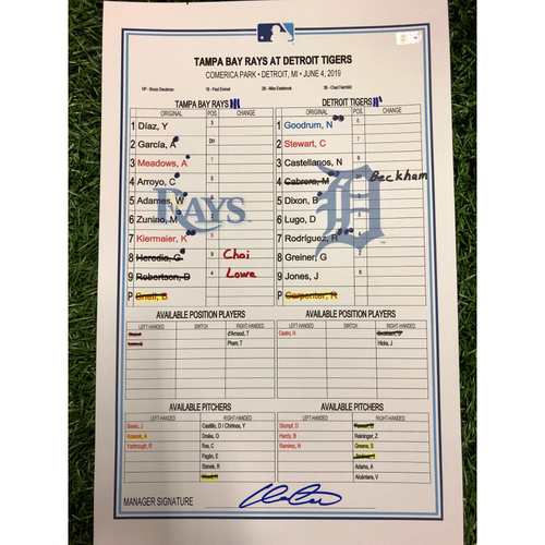 Game Used Lineup Card - Willy Adames (1st of Career) & Miguel Cabrera Grand Slam - June 4, 2019 at DET