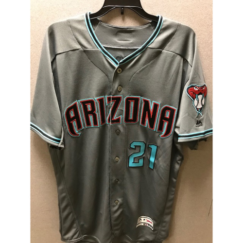 Photo of Cy Young Award Winner Zack Greinke 2017 Team-Issued Road Alternate Jersey