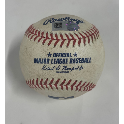 Photo of Game Used Baseball - 8/26/20 - Batter: Greg Allen, Pitcher: Sergio Romo - Sacrifice Fly