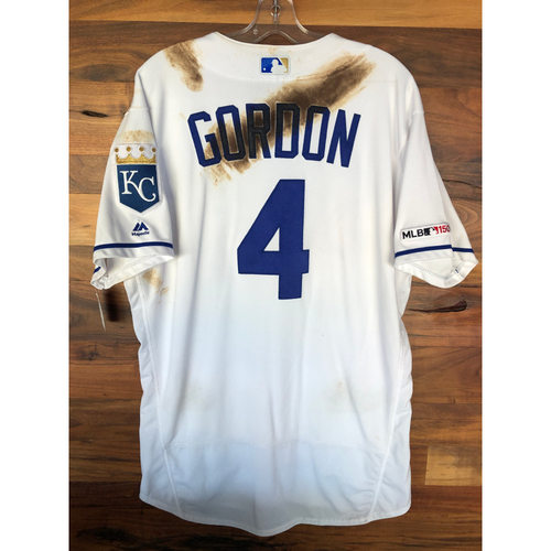 Photo of Game-Used Jersey: Alex Gordon #4 (7/25/19 CLE @ KC)