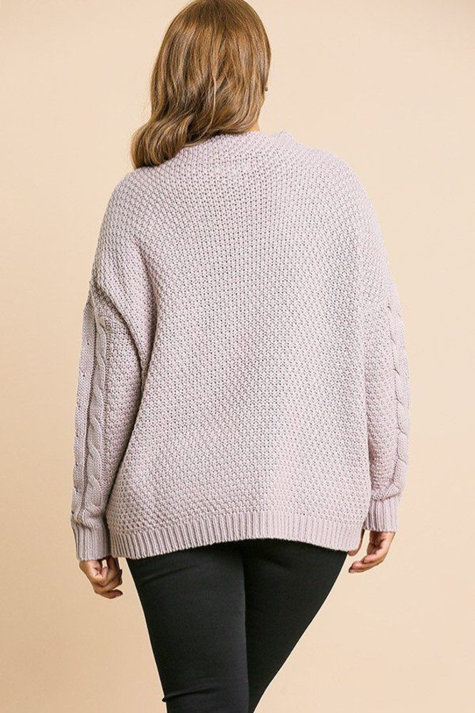 Photo of Serenity Long Sleeve Cable Knit Mock Neck Pullover Sweater