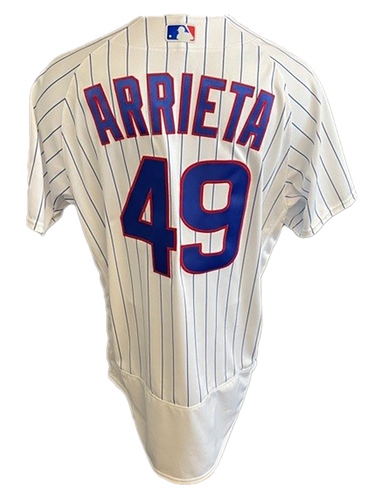 Photo of Jake Arrieta Game-Used Jersey -- Brewers vs. Cubs -- 4/25/21 -- Size 48C + 1B