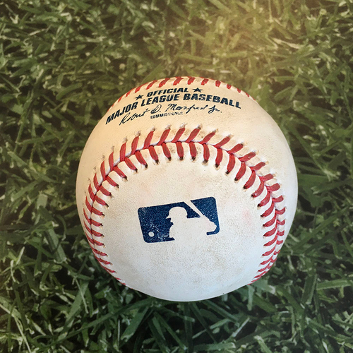Photo of Game-Used Baseball STL@MIL 09/14/20 (Game 1 of Doubleheader) - Kwang Hyun Kim - Christian Yelich: Double
