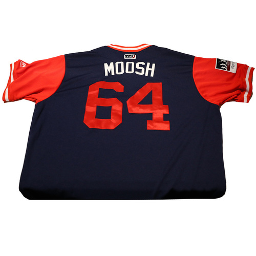 "Photo of Mike ""Moosh"" Morin Los Angeles Angels Game-Used Players Weekend Jersey"