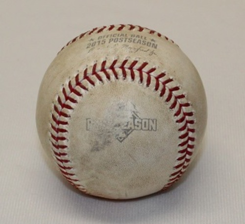 Photo of Authenticated Game Used Baseball - ALDS Game 5 (October 14, 2015 vs Texas Rangers). Foul Ball by Delino DeShields against Marcus Stroman. Top 2. Bautista Bat Flip Game.