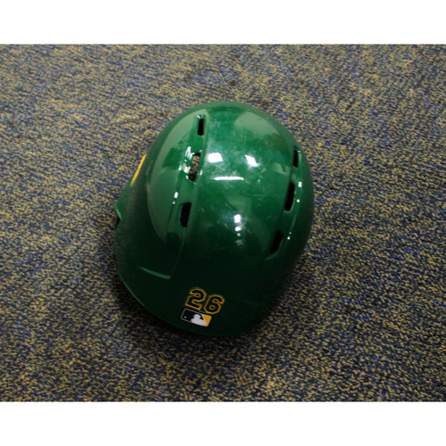 Photo of Game-Used 2018 Kelly Green Helmet - Matt Chapman