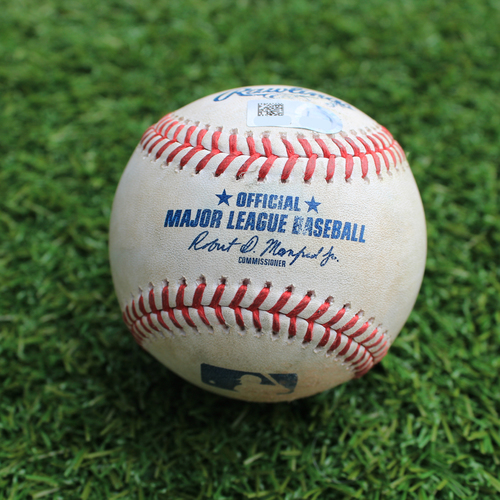 Photo of Game-Used Baseball: Tommy La Stella 237th Career Hit and 109th and 110th RBI (LAA @ KC - 4/27/19)
