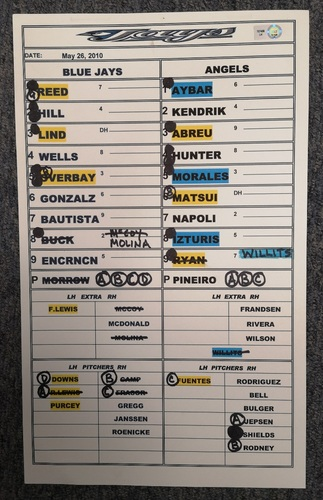 Photo of Authenticated Game Used Lineup Card - May 26, 2010 at LAA: Hideki Matsui Home Run Game