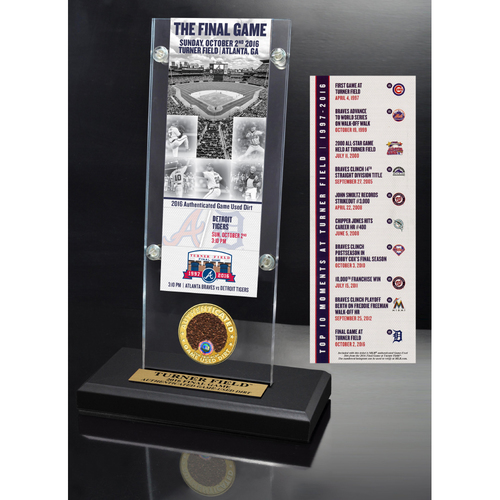 Photo of Turner Field Final Game Replica Acrylic Ticket Stand with Game Used Dirt