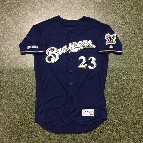 Photo of Jordan Lyles 09/25/19 Game-Used Navy Alternate Jersey - 5.0 IP, 3 H, 2 ER, 2 BB, 6 SO, Win #12 (Brewers Clinch Postseason Berth)