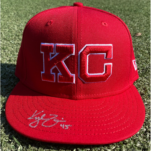 Photo of Autographed/Game-Used Monarchs Hat: Kyle Zimmer #45 (STL @ KC 9/22/20) - Size 7 1/8