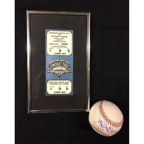 1991: First Year at Comiskey Park II - Jack McDowell Autographed Baseball and a Framed Commemorative Ticket from Opening Day 1991