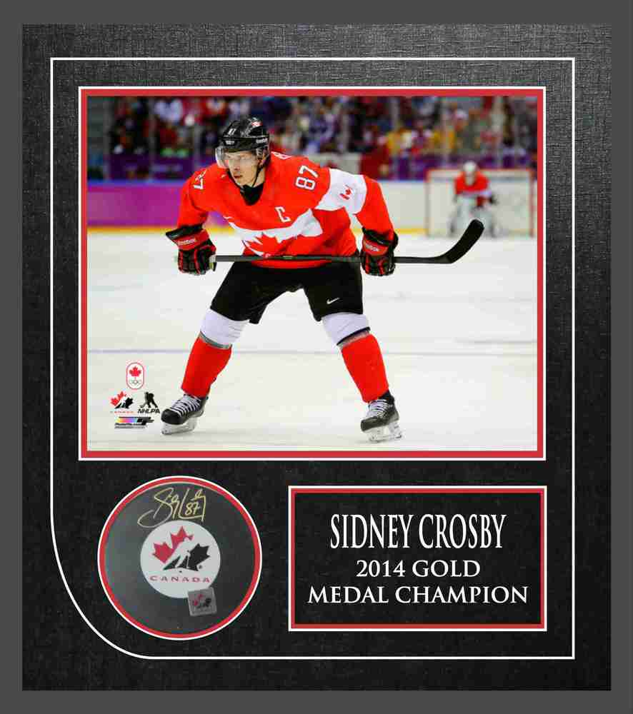 Sidney Crosby - Signed & Framed Team Canada Puck Featuring 8x10