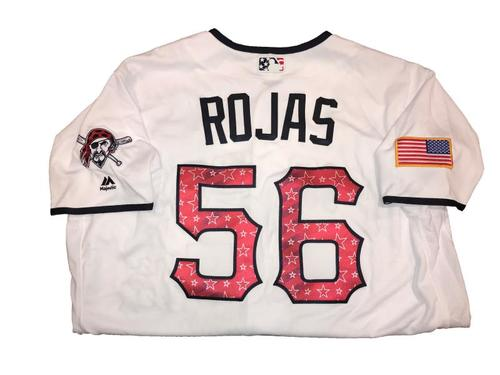 Euclides Rojas Game-Used Home White Stars and Stripes Jersey