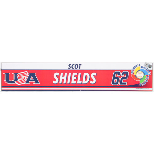 2009 WBC: USA Game-Used Locker Name Plate - #62 Scot Shields