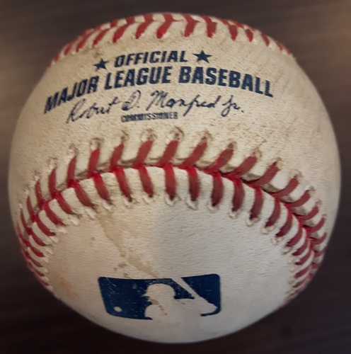 Photo of Authenticated Game Used Baseball - Double by Corey Dickerson against Marcus Stroman. Top 4. (August 16, 2017).
