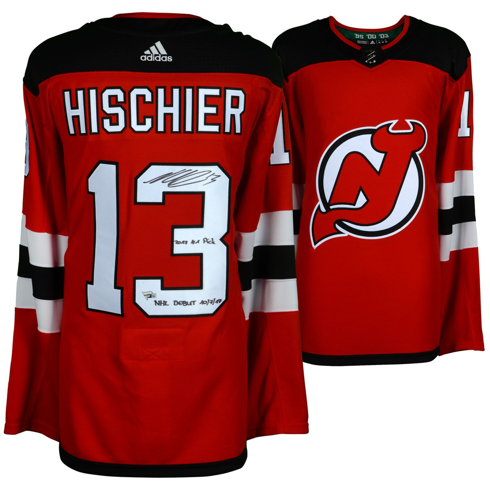 Nico Hischier New Jersey Devils Autographed Red Adidas Authentic Jersey with Multiple Inscriptions - #1 of a L. E. of 13