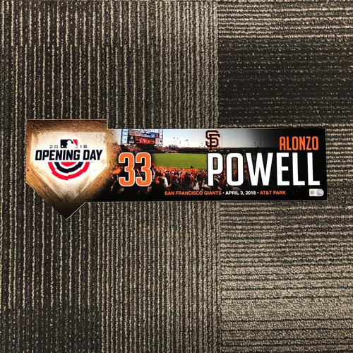 Photo of San Francisco Giants - 2018 Opening Day Locker Tag - Alonzo Powell