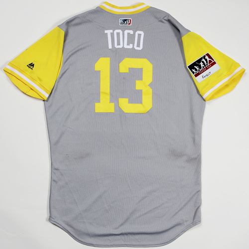 "Photo of Freddy ""Toco"" Galvis San Diego Padres Game-Used 2018 Players' Weekend Jersey"