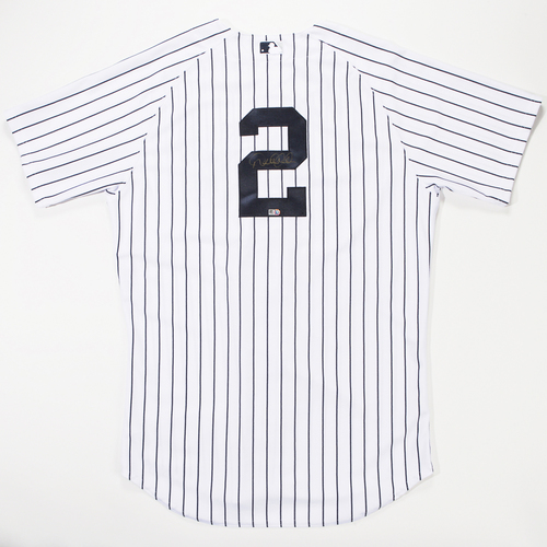 Photo of Derek Jeter Autographed New York Yankees White Pinstripe #2 Jersey - Signed in Gold
