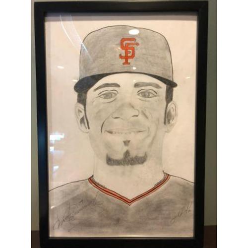 Photo of Giants Community Fund: Gorkys Hernandez Autographed Sketch by Jose Alguacil