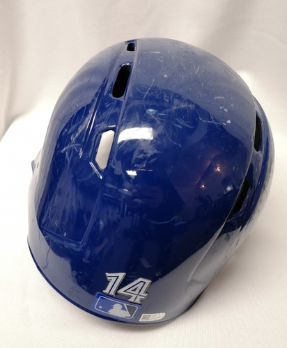 Photo of Authenticated Game Used Helmet - #14 Justin Smoak (March 29, 18: 0-for-3 with 1 BB). Size 7 3/8.