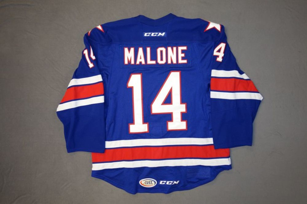 Sean Malone Game-Worn Rochester Americans Blue Jersey