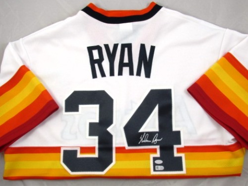 Photo of Nolan Ryan Autographed Houton Astros Jersey (Cooperstown Collection)