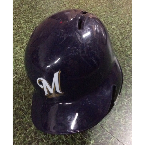 Photo of Hernan Perez 2018 Game-Used Batting Helmet (3/29 - Opening Day; 9/17 - Yelich 2nd Cycle Game; 9/26 - Postseason-Clinching Game)