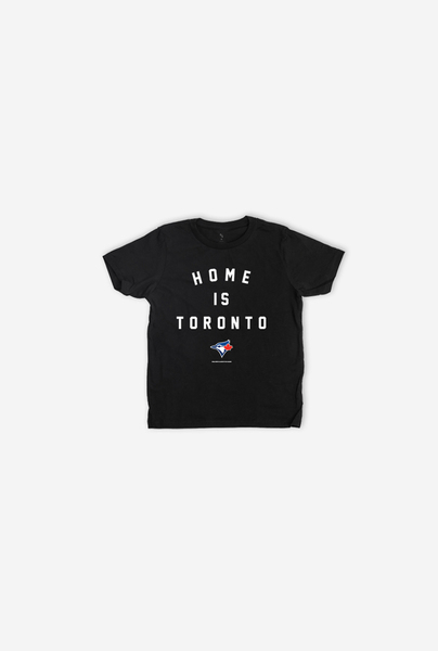 Toronto Blue Jays Youth Home Is Toronto Black T-Shirt by Peace Collective
