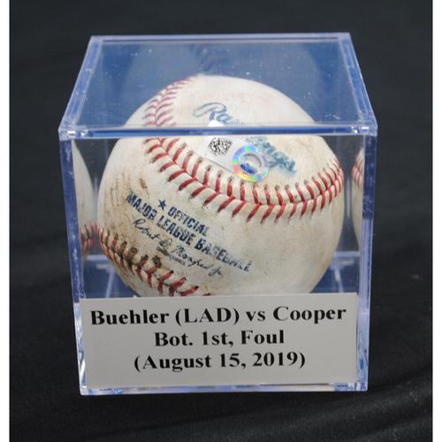 Photo of Game-Used Baseball: Walker Buehler (LAD) vs Garrett Cooper, Bot. 1st, Foul (August 15, 2019)