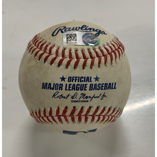 Photo of Game Used Baseball - 9/4/20 - Batter: Jace Peterson, Pitcher: Carlos Carrasco - Lineout