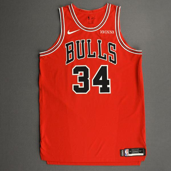 Image of Wendell Carter Jr. - Chicago Bulls - Kia NBA Tip-Off 2020 - Game-Worn 1st Half Icon Edition Jersey