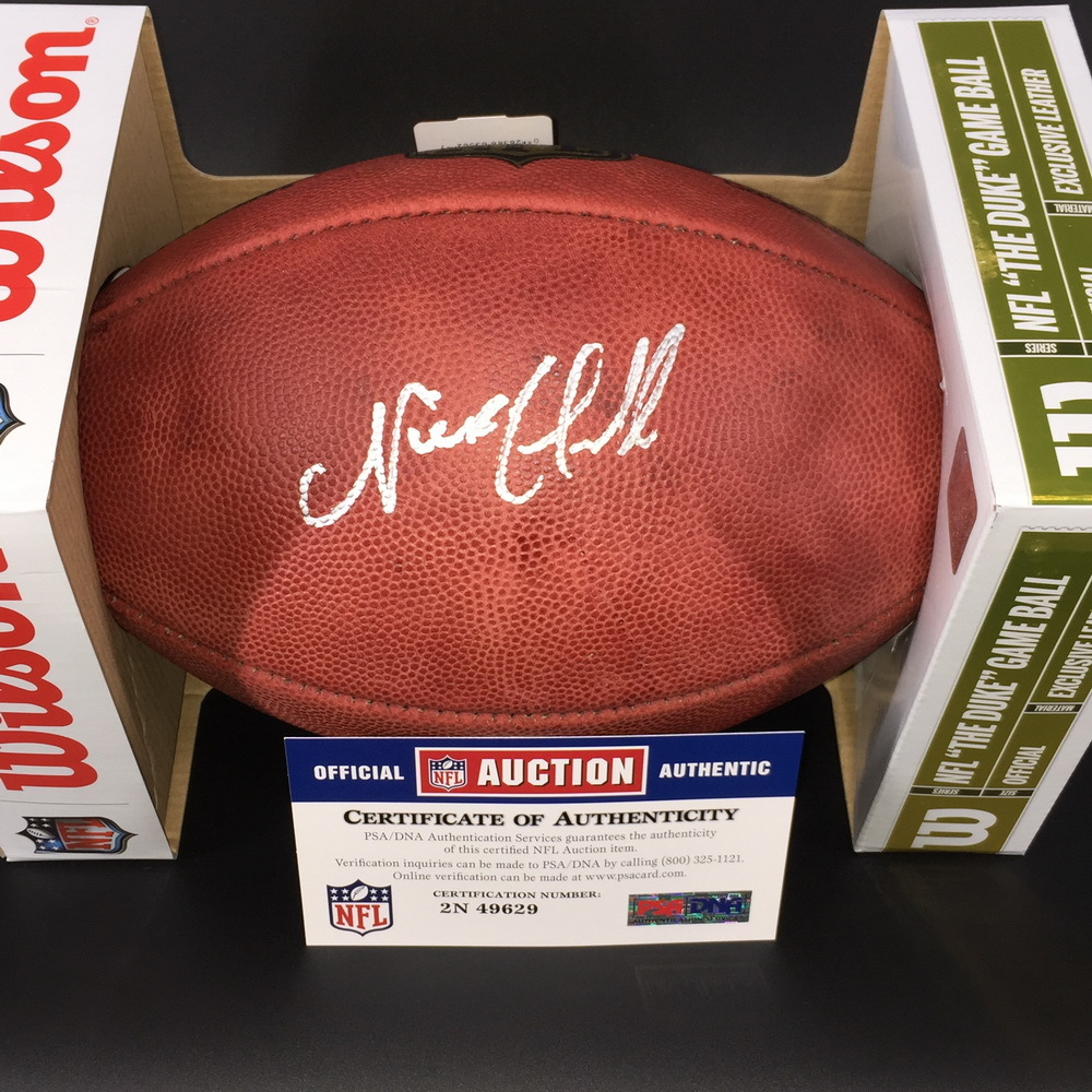 NFL - BROWNS RB NICK CHUBB  SIGNED AUTHENTIC 'DUKE' FOOTBALL