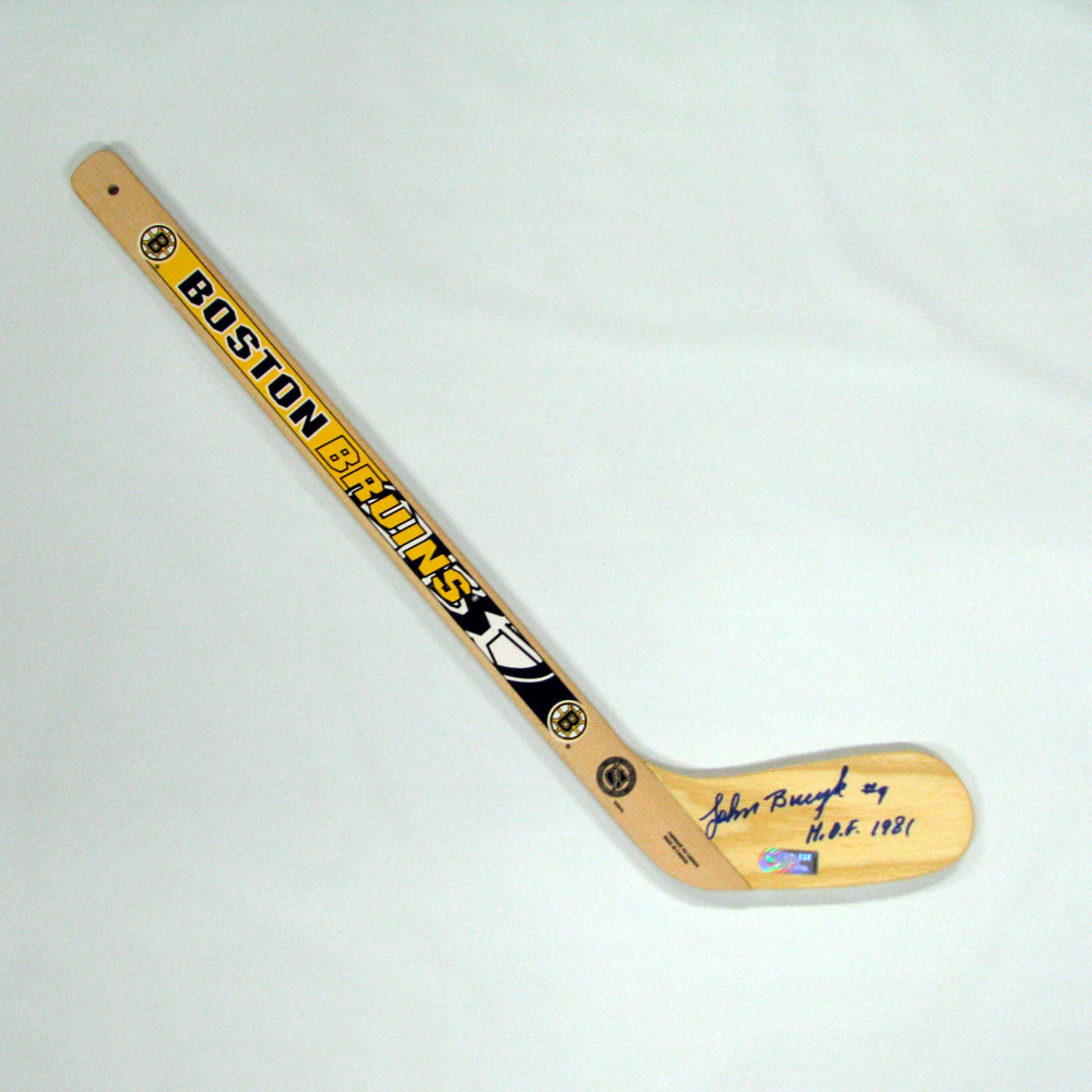 JOHN BUCYK Signed Mini Stick with HOF Inscription - Boston Bruins