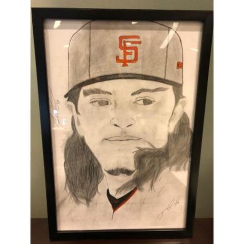 Photo of Giants Community Fund: Dereck Rodriguez Autographed Sketch by Jose Alguacil