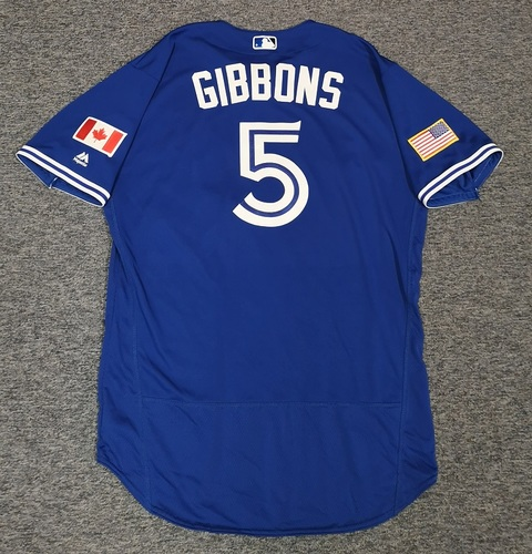 Photo of Authenticated Game Used Independence Day Jersey - #5 John Gibbons (July 4, 2018). Size 48.