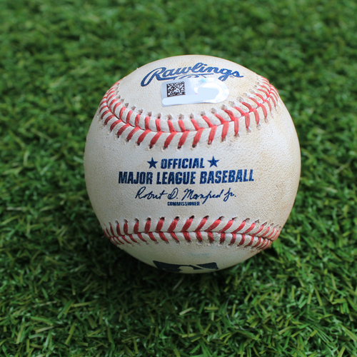 Photo of Game-Used Baseball: Domingo Santana 324th Career Hit (SEA @ KC - 4/11/19)
