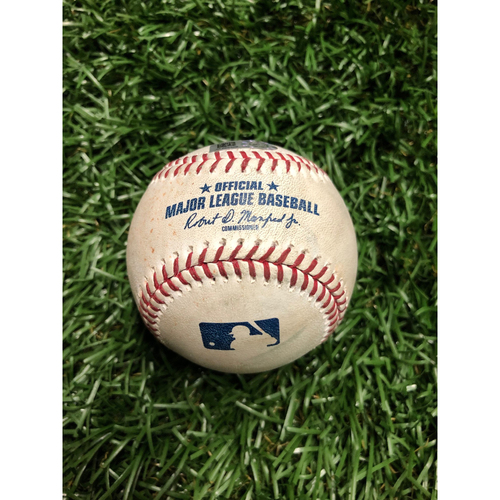 Photo of Game Used Baseball: Kole Calhoun ground out & Mike Trout foul ball off Charlie Morton  June 15, 2019 v LAA