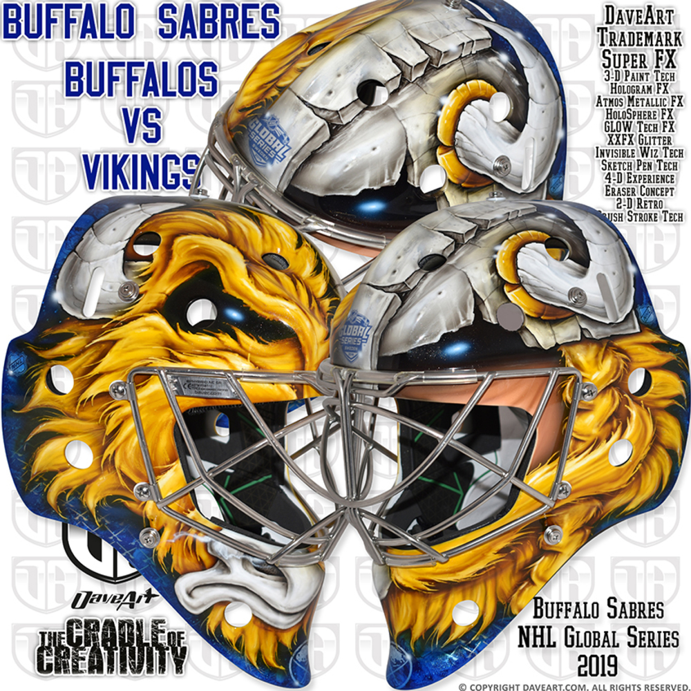 2019 NHL Global Series Goalie Mask created by Dave Art Autographed by Jack Eichel and Marcus Johansson - Buffalo Sabres - Not Game Worn